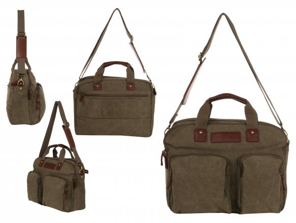 WB-6024 KHAKI LARGE CANVAS LAPTOP BAG