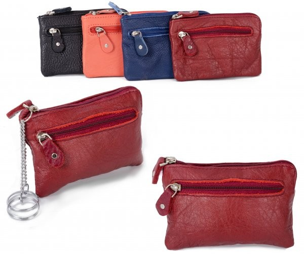 CPDM 55 RED COIN PURSE W/ 2 KEY RINGS