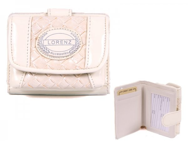 7437 WHITE PATENT INTERWEAVE PVC PERSE WITH WALLET SEC