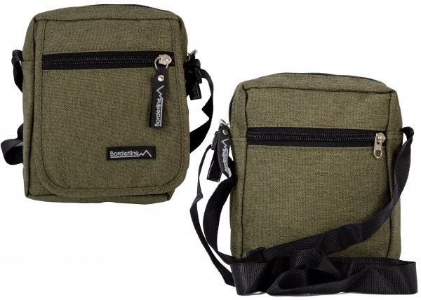JBMB02 GREEN CROSSBAG W/ FLAP & 3 ZIPS