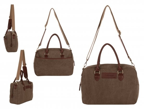 WB-6023 BROWN SMALL CANVAS HOLDALL