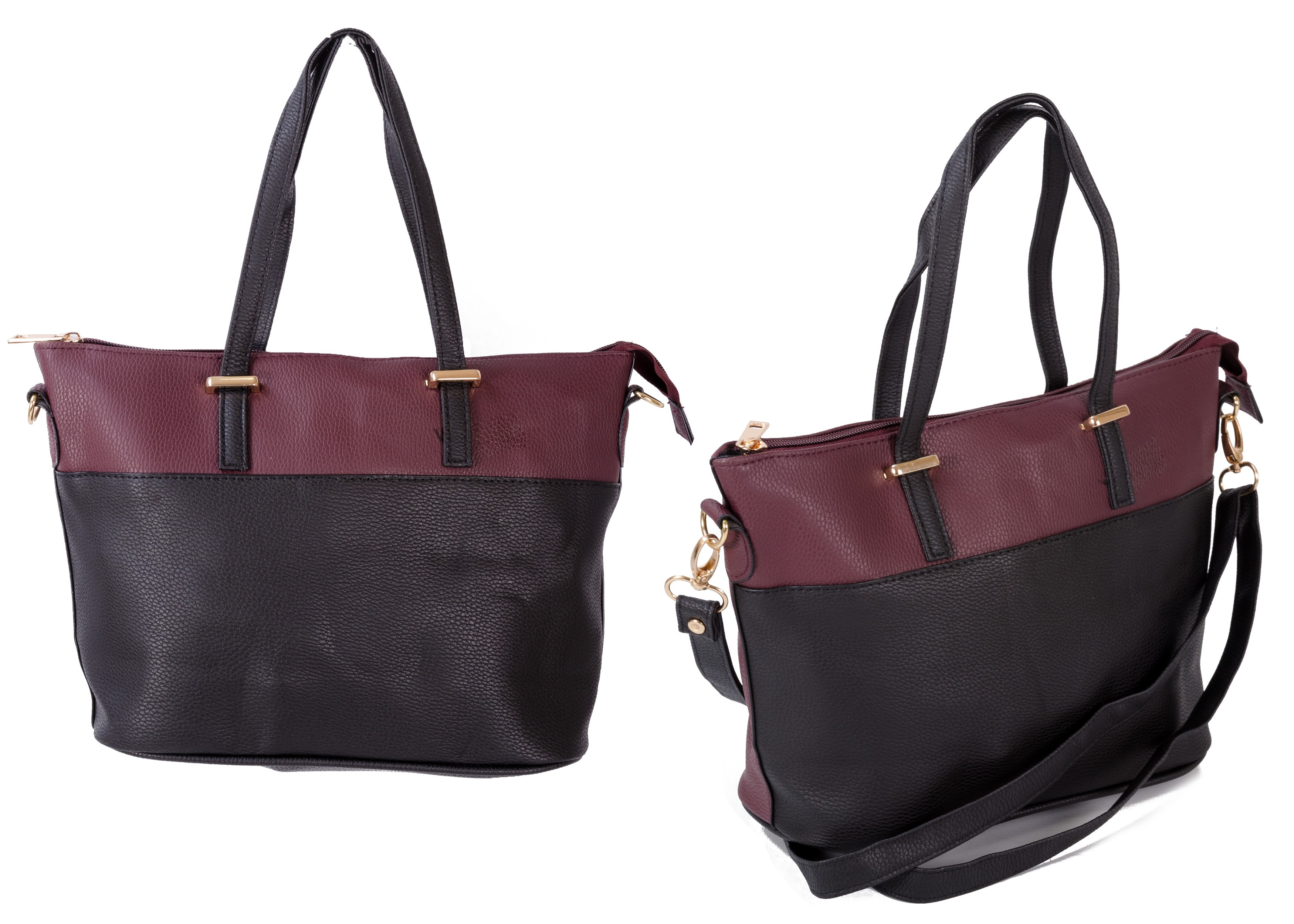 JBFB150B WINE/BLACK PU HANDBAG W/ SHOULDER STRAP