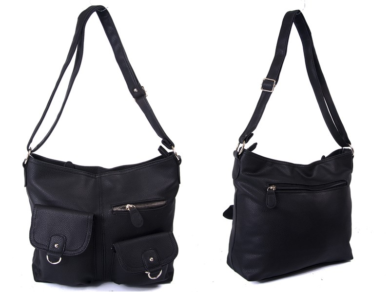 JBFB217 BLACK PU HANDBAG WTH 3 ZIP PKT TWO FLAP PKT