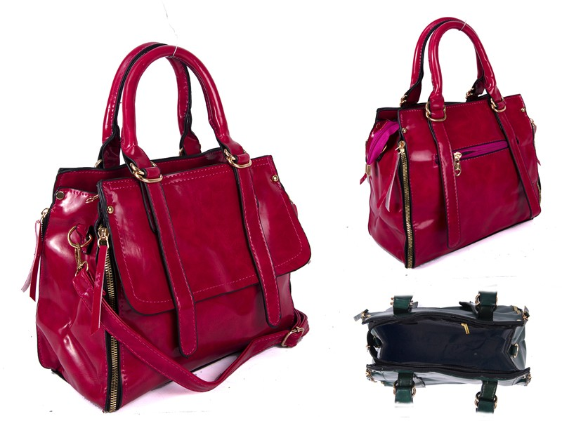 SUS2 PINK GLOSS PU BAG WITH ZIP DETAILING