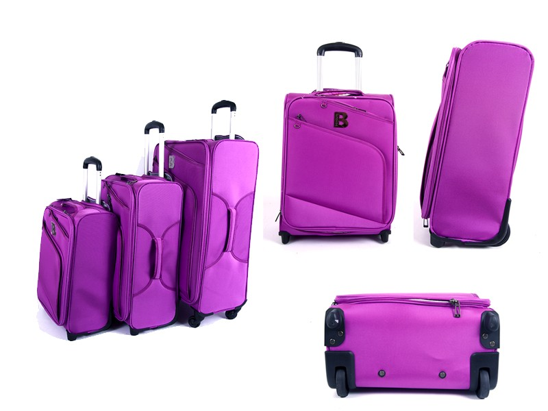 JB2009 PINK SET OF THREE LUGGAGE BAGS WITH WHEELS