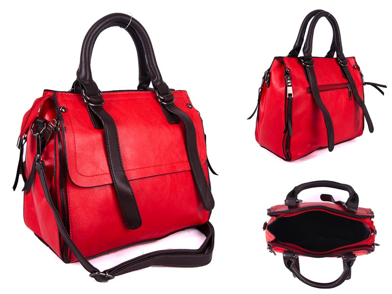 SUS3 RED/BROWN PU BOWLING BAG WITH ZIP DETAILING
