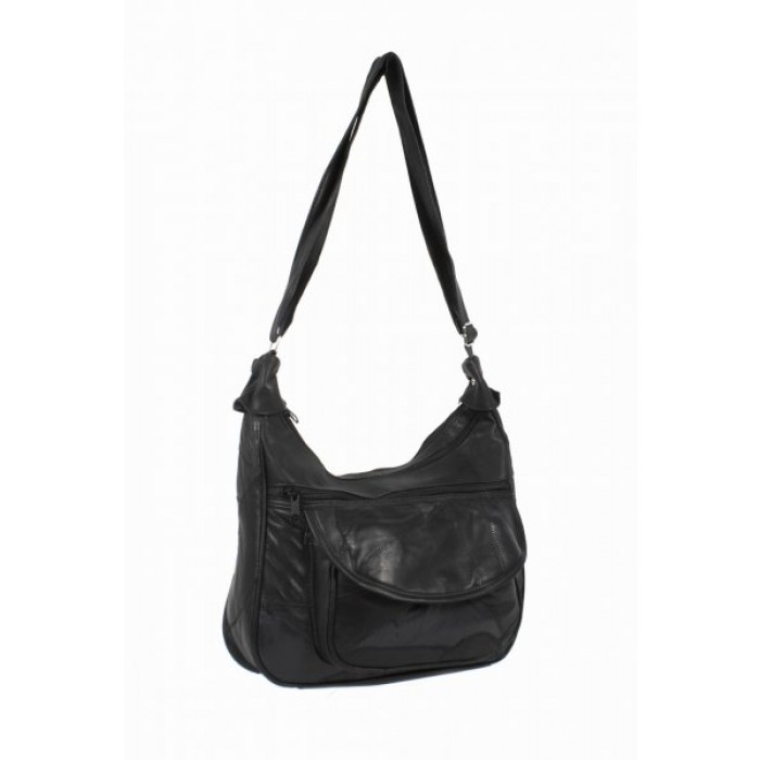 4775 BLACK Twin Top Zip Ptch Bag wt Frnt Pkt, Bk Zip