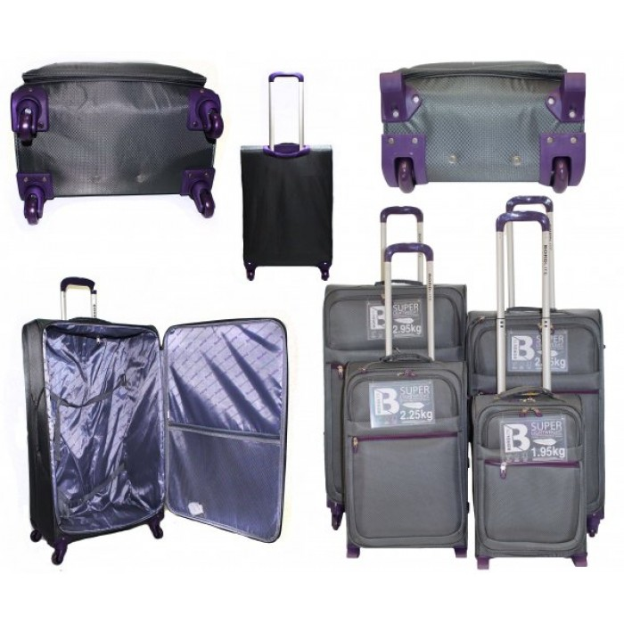 JB2015 GREY PURPLE 4 SUITCASES