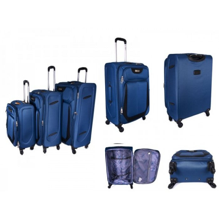 "JB2022 BLUE SET OF THREE TROLLEY CASE 20"",24"",28"""