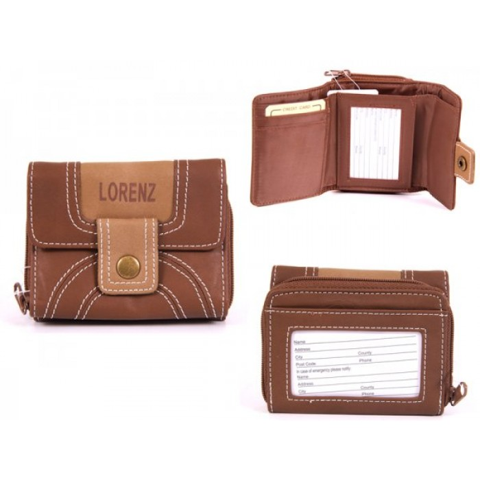 7500 D.BROWN PU PURSE WITH POPPERED FRONT & REAR ZIPPED PK