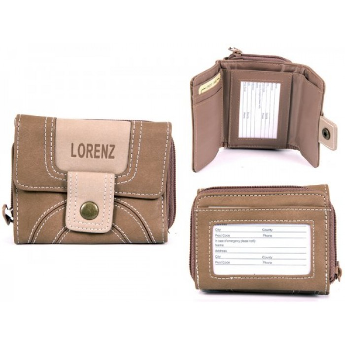 7500 L.BROWN PU PURSE WITH POPPERED FRONT & REAR ZIPPED PK