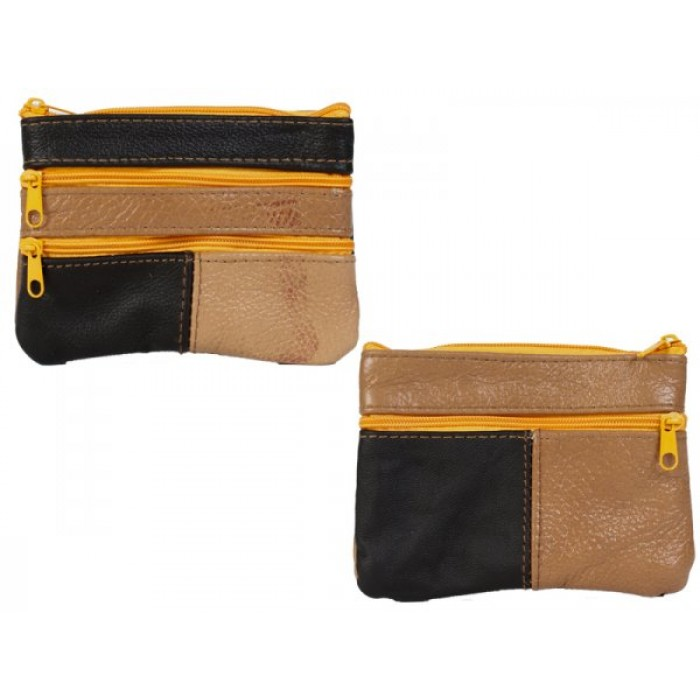 3720 SMALL MULTI COW HIDE PURSE WITH 4 ZIPS