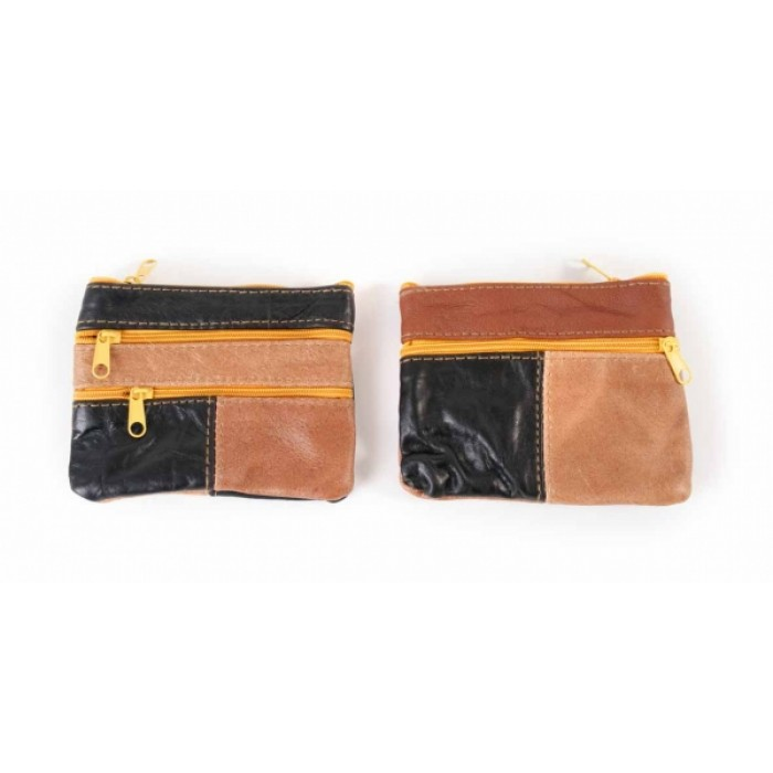3720 SMALL MULTI COW BROWN HIDE PURSE WITH 4 ZIPS