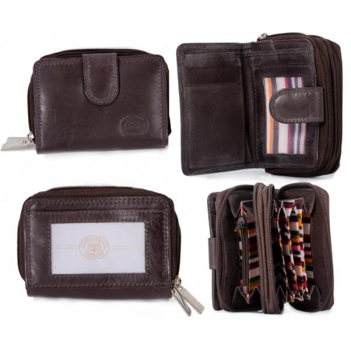 1073 D.BROWN SFT C.NAPPA TWIN ZIP RND PURSE, PASS POCKET