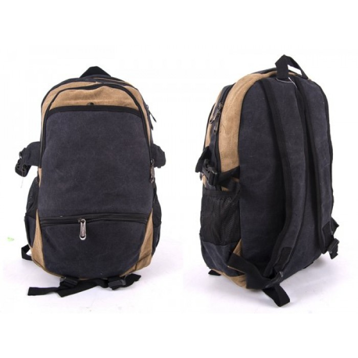 2616 BROWN/BLACK CANVAS BACKPACK WIT 4 ZIPS & 2 SIDE POCKETS