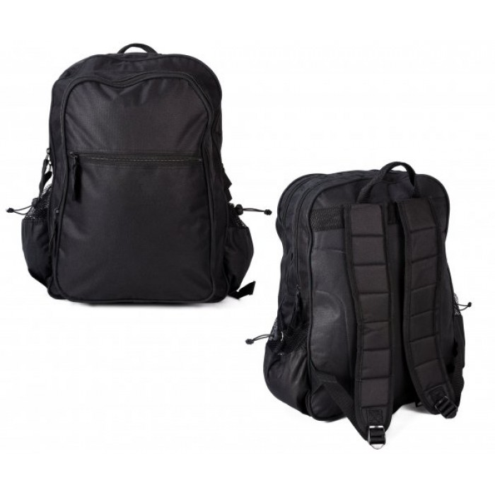 AKA196 BLACK SQAURE RUCKSACK WITH 4 ZIPS