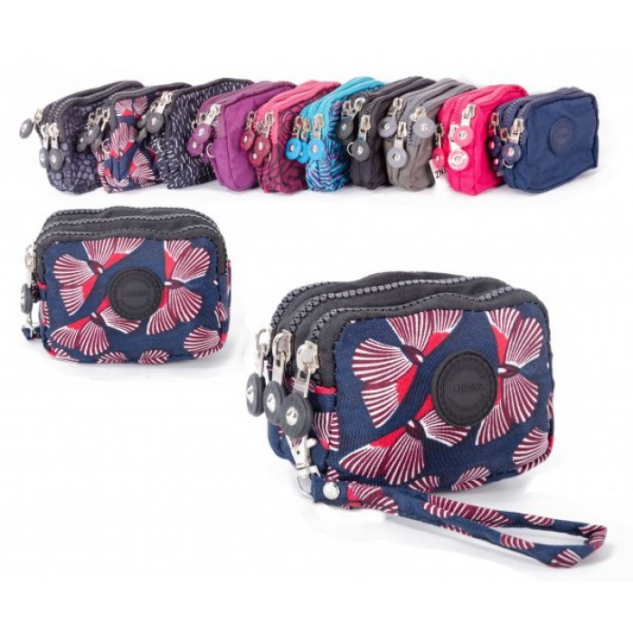 2506 BF SMALL TRIPLE ZIP ROUND PURSE WITH DETACHABLE STRAP