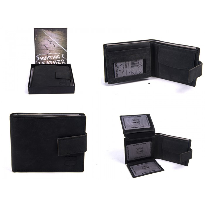 1063 HUNTER BLACK LEATHER RFID WALLET