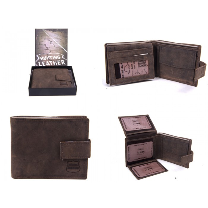 1063 HUNTER BROWN LEATHER RFID WALLET