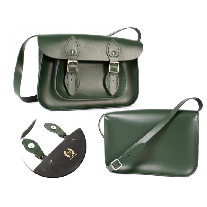 11 RACING GREEN MAGNETIC ENGLISH SATCHEL