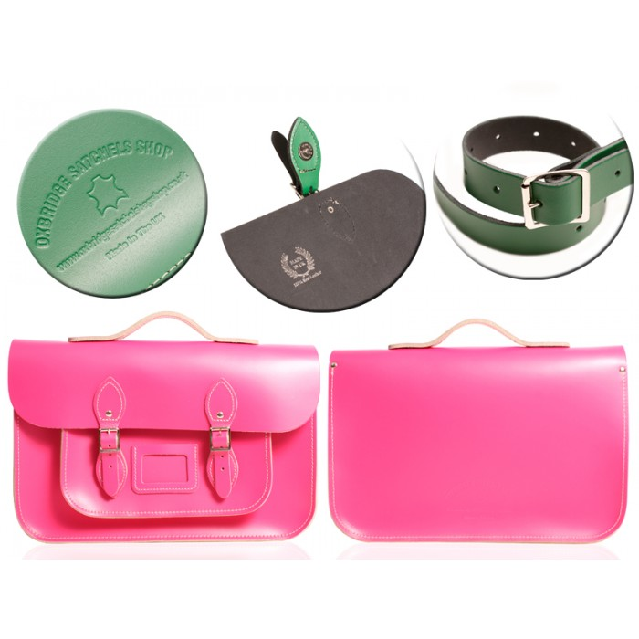 "12"" HOT PINK MAGNETIC SATCHEL W/HANDLE"