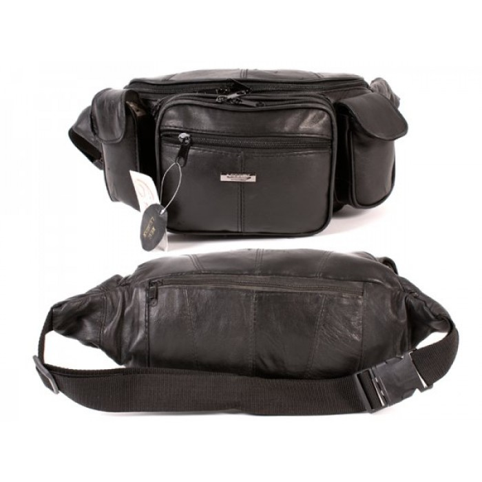 1447 BLACK MEGA MULTI POCKET BUM BAG IN SHEEP NAPPA