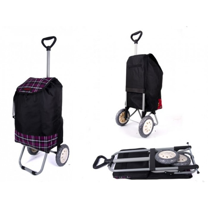 6957 SUMMER PURPLE CHECK SHOPPING TROLLEY WITH ADJUSTABLE HANDLE