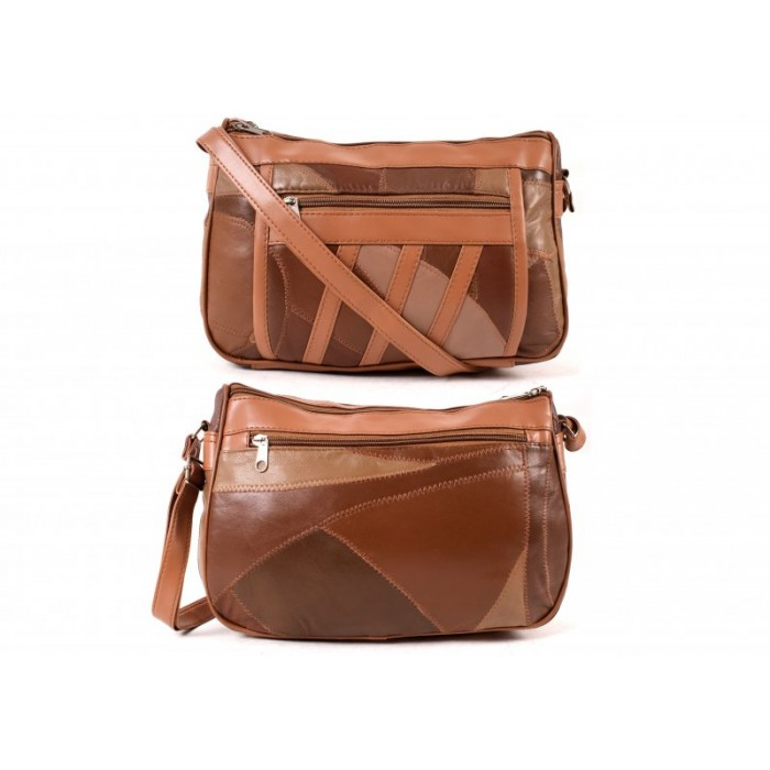 4768SPECIAL TAN ECON. PTCH DBLE TOP ZIP BAG, BK, FRNT ZIPS