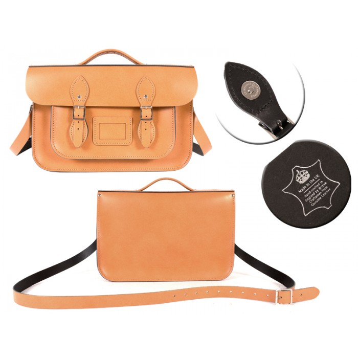 14 AUTUMN TAN MAGNET ENGLISH BRIEFCASE SATCHEL