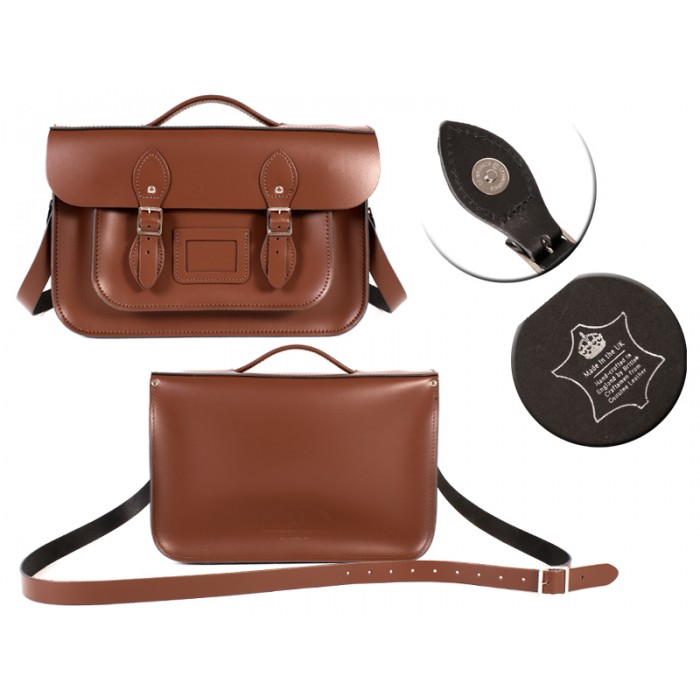 14 CHESTNUT BROWN MAGNET ENGLISH BRIEFCASE SATCHEL