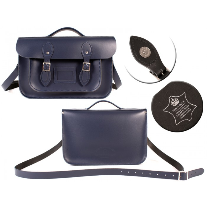 14 NAVY BLUE MAGNET ENGLISH BRIEFCASE SATCHEL