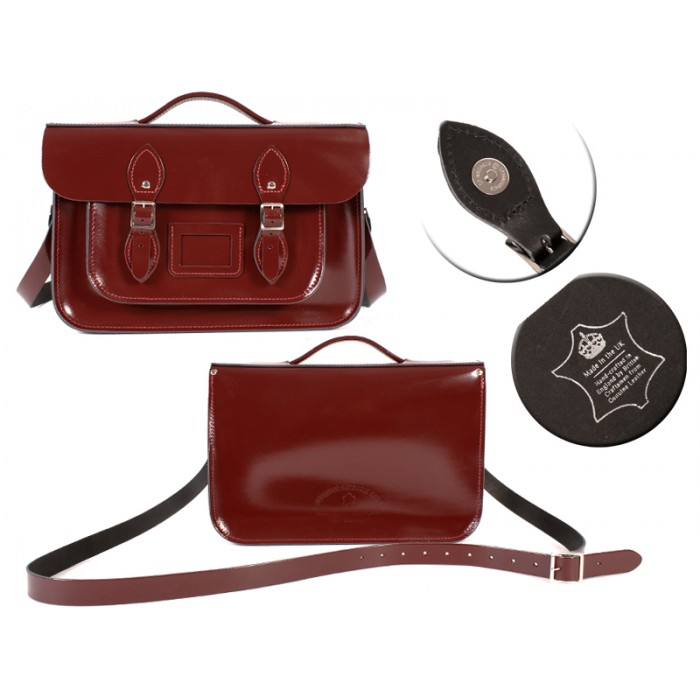 14 PATENT OXBLOOD MAGNET ENGLISH BRIEFCASE SATCHE