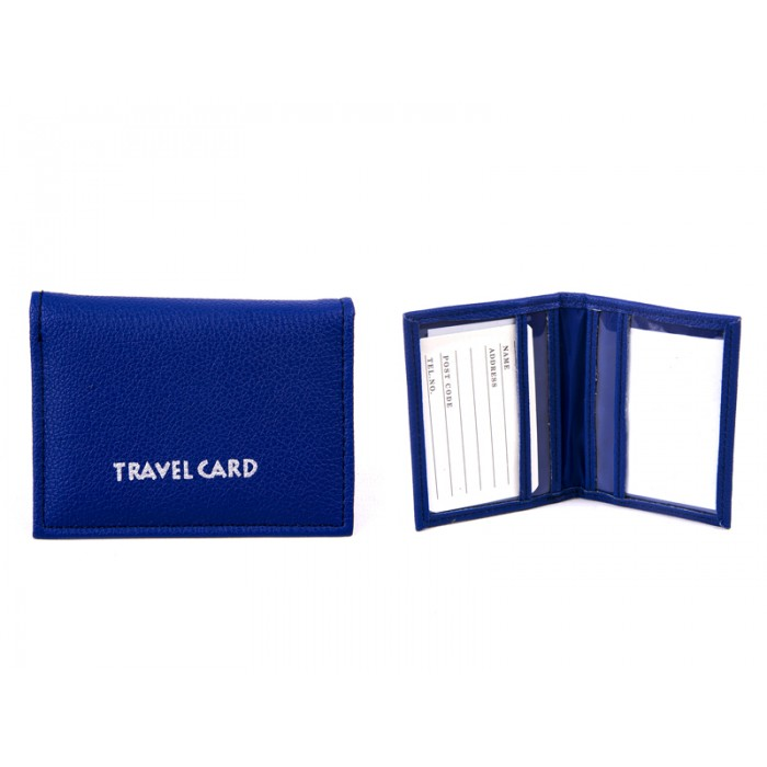 1500 NAVY Grained PU Travel Card Holder