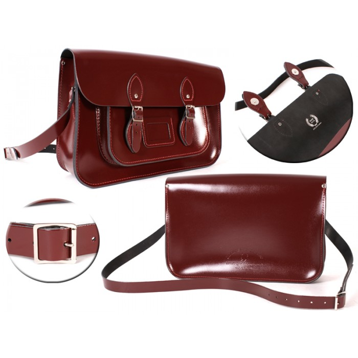 15 PATENT OXBLOOD MAGNET ENGLISH SATCHEL