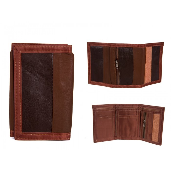 1893 BROWN LEATHER TRI FOLD WALLET
