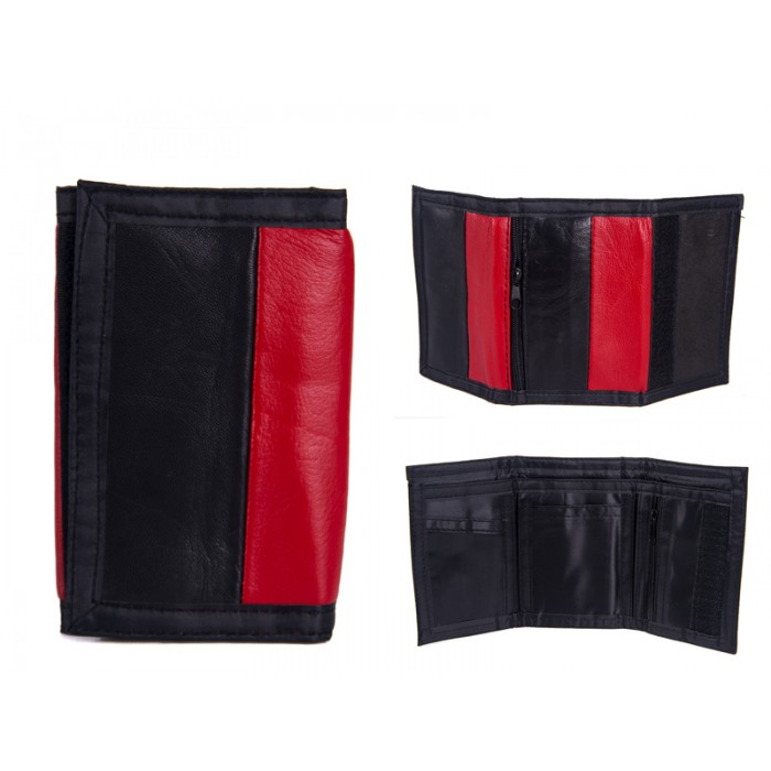1893 RED LEATHER TRI FOLD WALLET