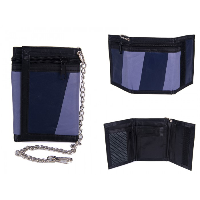 1894 BLUE LEATHER TRI FOLD WALLET WITH CHAIN
