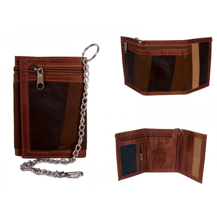 1894 BROWN LEATHER TRI FOLD WALLET WITH CHAIN
