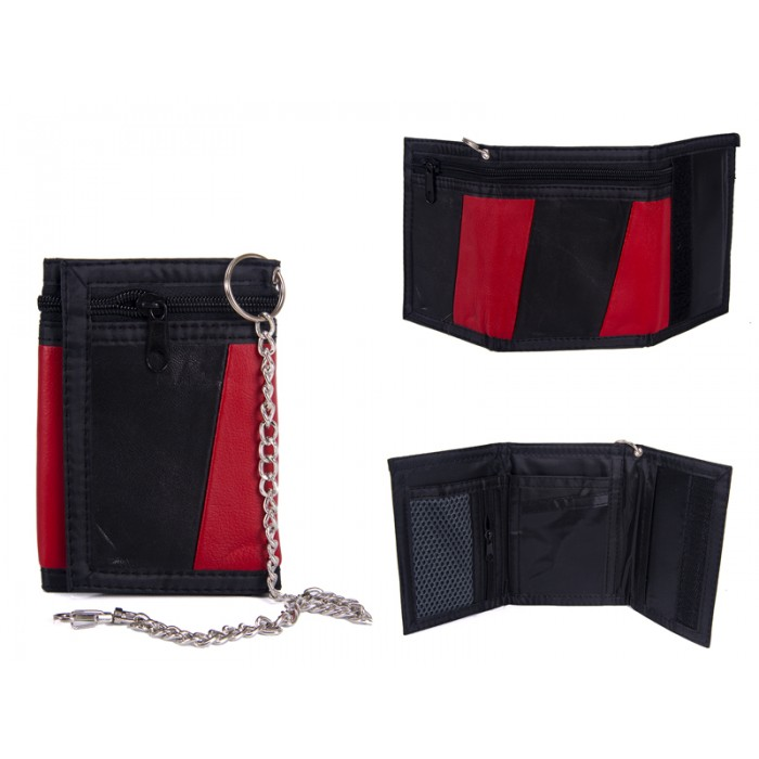 1894 RED LEATHER TRI FOLD WALLET WITH CHAIN
