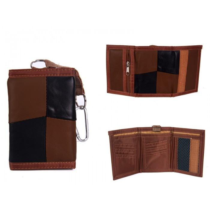 1895 BLACK/BROWN LEATHER TRI FOLD WALLET WITH D RING CLASP