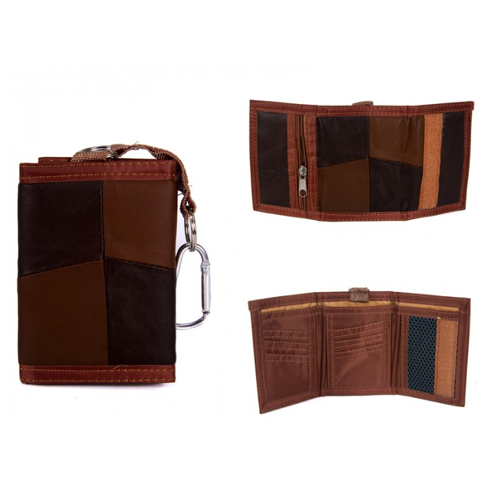 1895 BROWN LEATHER TRI FOLD WALLET WITH D RING CLASP