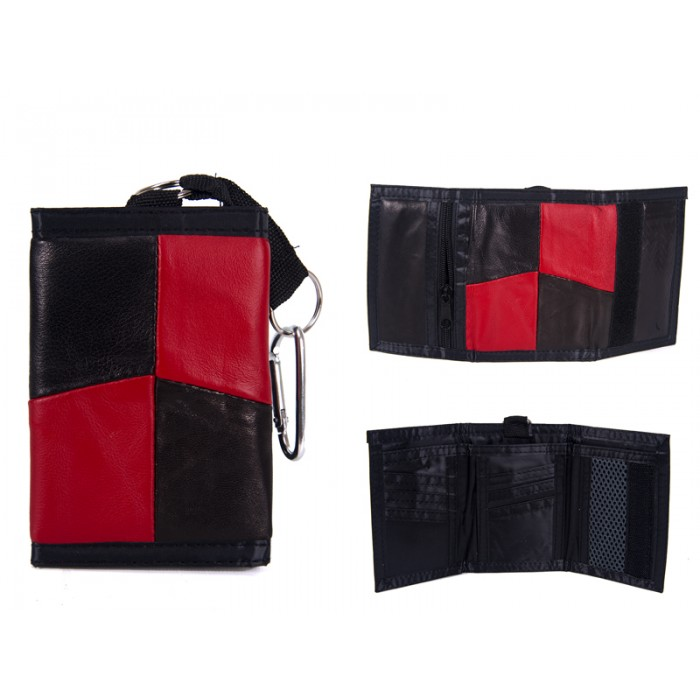1895 RED LEATHER TRI FOLD WALLET WITH D RING CLASP