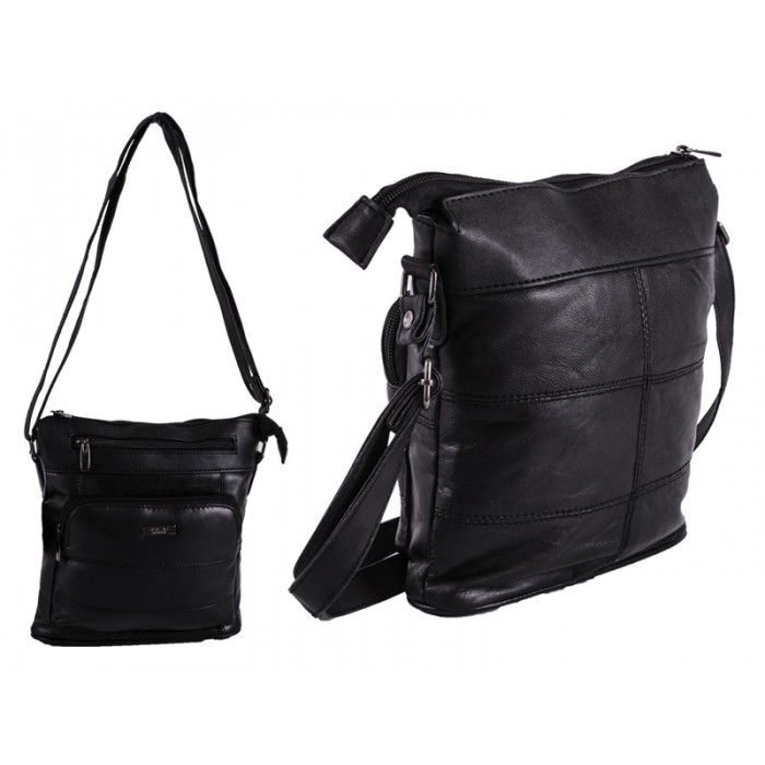 1905 BLACK S.NAPPA X-BDY TOP ZIP BAG WITH 2 FRONT