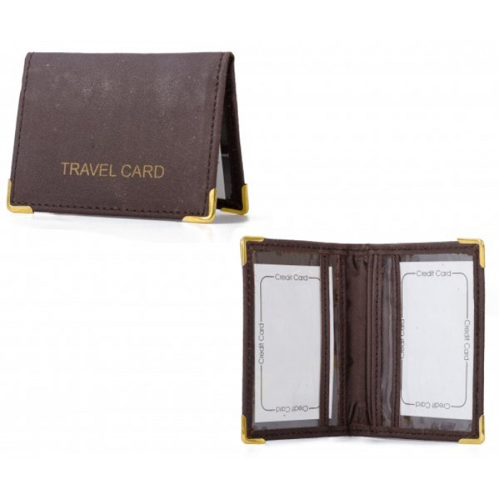 1500L BROWN LEATHER TRAVEL CARD WALLET WITH TRIMS