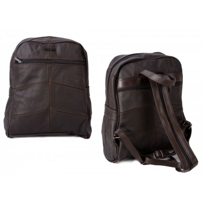 3759 DARK BROWN LARGE BACKPACK WITH LARGE TOP ZIP