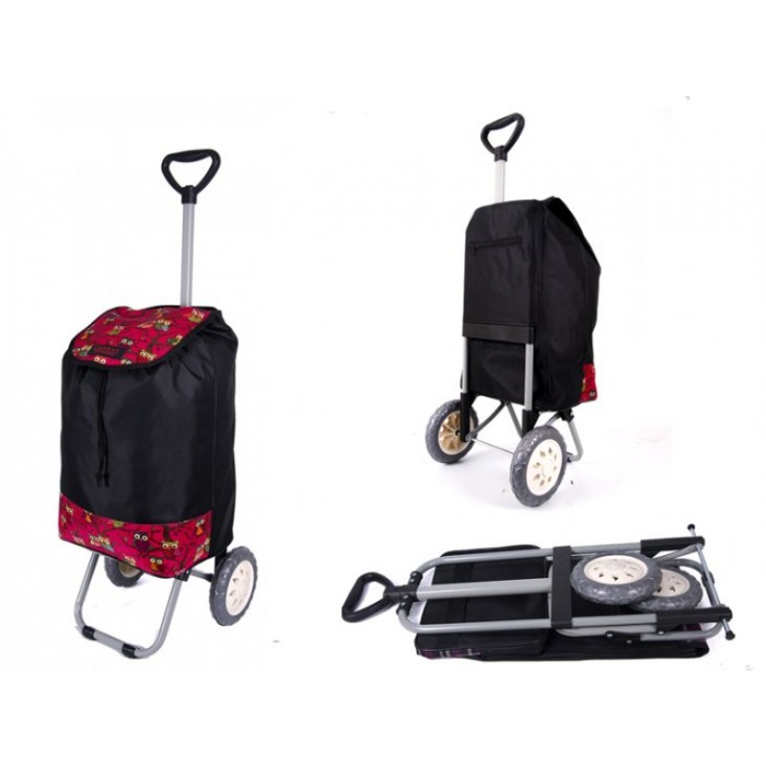 6957 PINK OWLS Shopping Trolley with Adjustable Handle