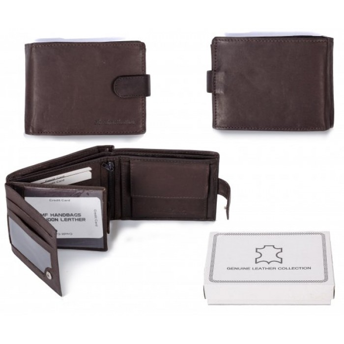 1007 RFID BROWN LONDON LEATHER WALLET W/ 2 CC FLAPS