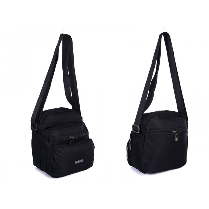 2451 BLACK Lorenz shoulder bag with 5 zips