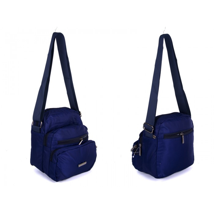 2451 NAVY Lorenz shoulder bag with 5 zips