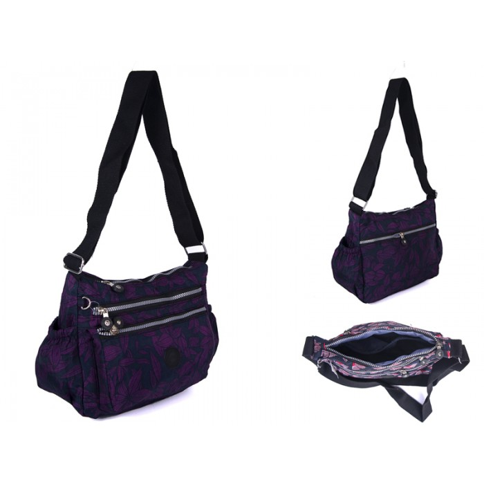 2502 PURPLE BOWS  Lorenz shoulder bag with 4 zips
